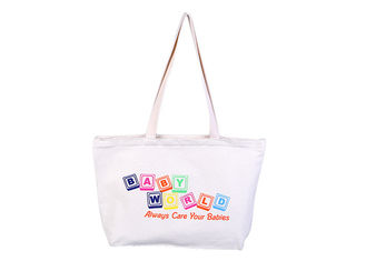China Polyester White Large Canvas Tote Bags Foldable With Zipper For Students supplier