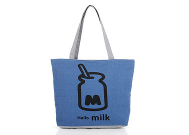China Large Navy Blue Canvas Tote Bag , Personalised Shopping Bags For Women supplier