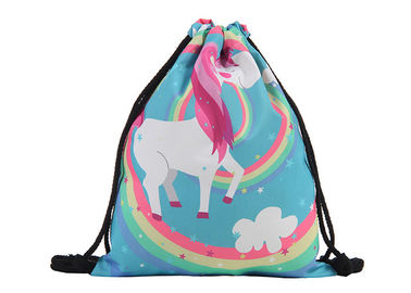 China Stock 39 * 30cm  Custom Drawstring Bags With Logo Cute Polyester Material factory