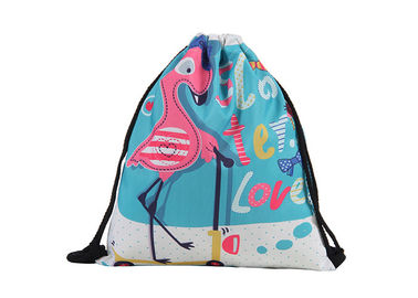 China Flamingo Personalized Cinch Bags , Custom Print Drawstring Bags With Logo factory