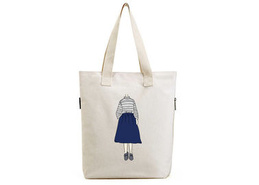 China OEM Canvas Tote Shopper Bag Cotton Material With Zipper For Shopping distributor