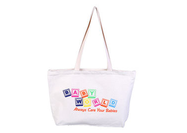 China Polyester White Large Canvas Tote Bags Foldable With Zipper For Students distributor