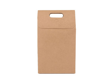 China Christmas Brown Kraft Paper Gift Bags , Lunch Square Paper Bag With Handles distributor