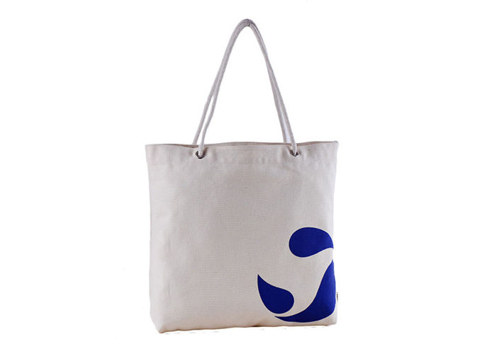 Polyester White Large Canvas Tote Bags Foldable With Zipper For Students